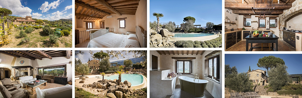 collection of images of stunning villa accommodation for photography workshop in tuscany