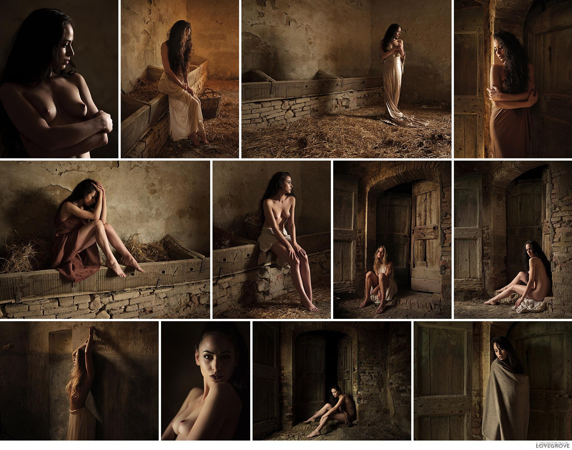 a set of images of portraits of girls taken on a photography workshop in Tuscany