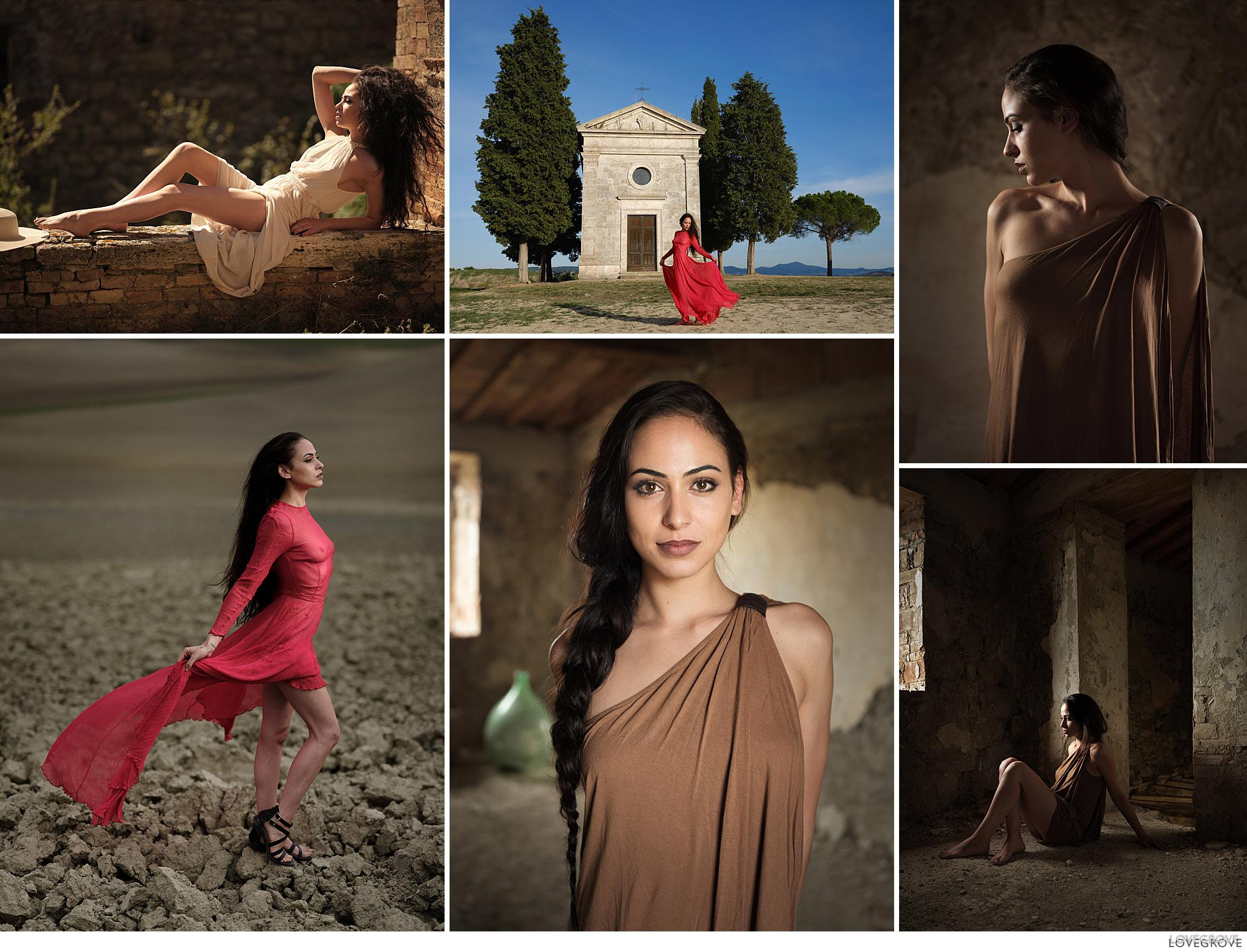 a set of portraits of a beautiful girl taken on a photography workshop in Tuscany