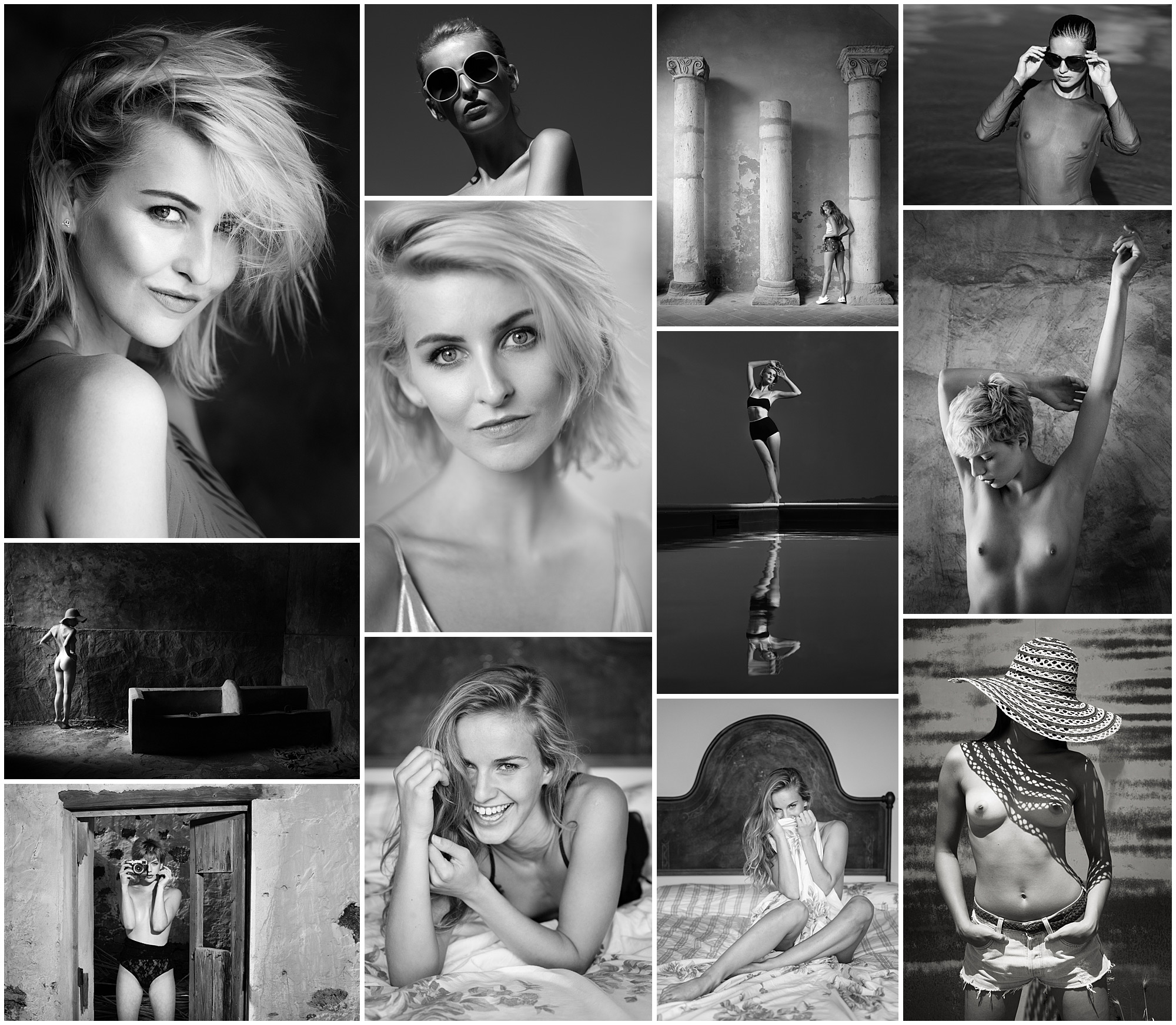 a set of monochrome portraits taken on a photography workshop in Tuscany