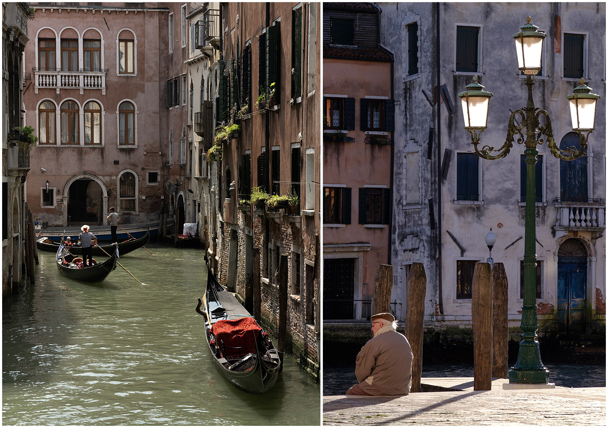 two pictures of canals taken on a street portraits workshop in venice