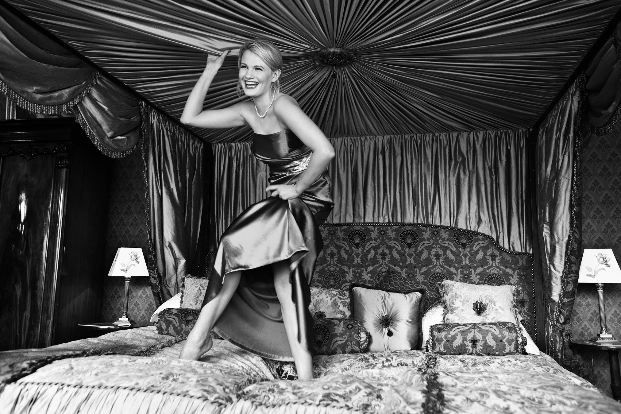 Chloe-Jasmine Whichello in a silk dress in Somerset.