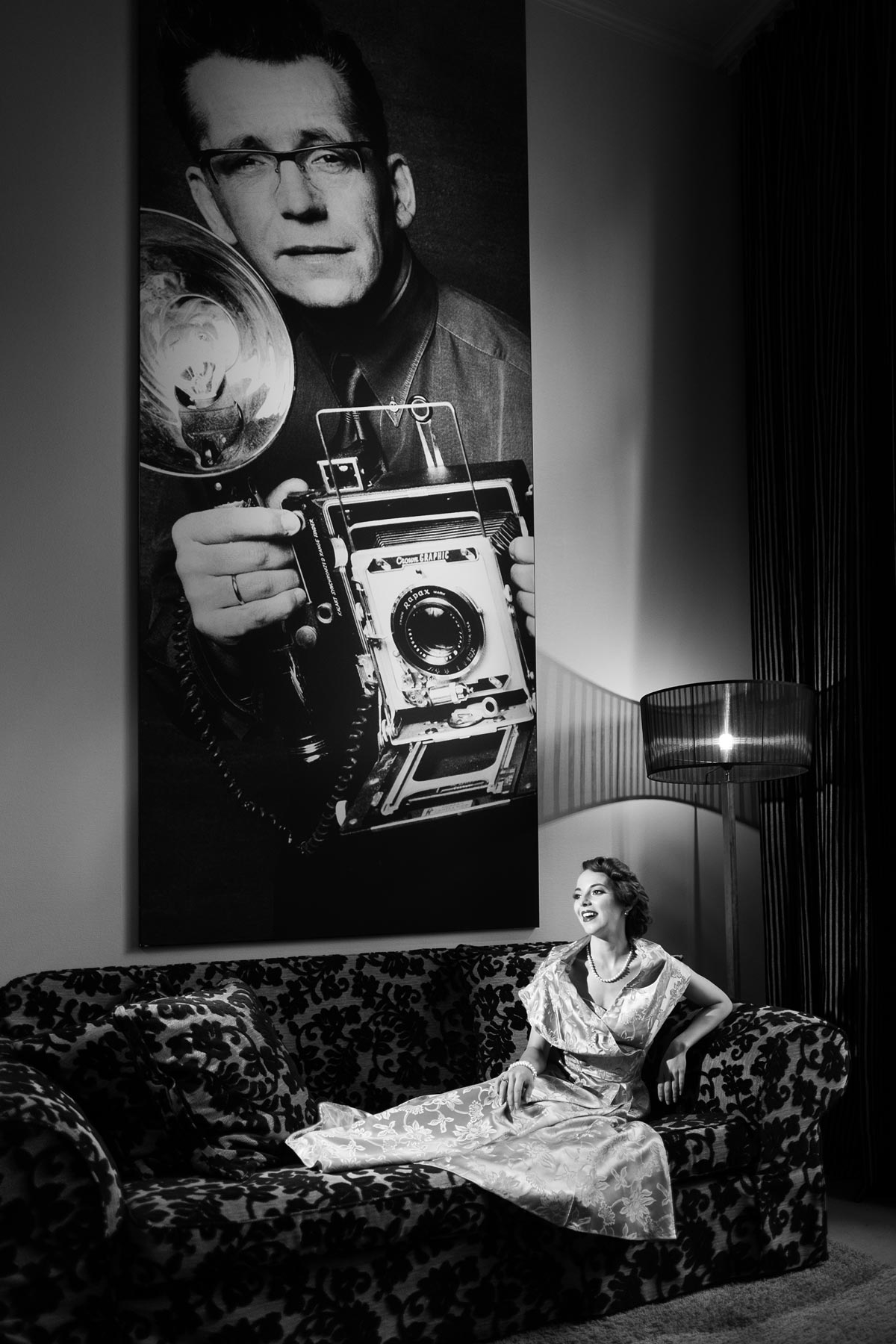 Rina Bambina in Stage 47 Hotel, Dusseldorf. Monochrome by Damien Lovegrove